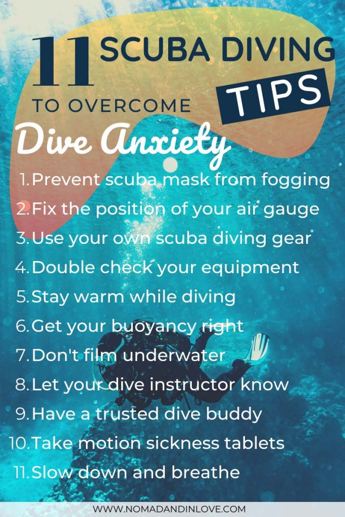 infographic of 11 scuba diving tips to overcome panic and diving anxiety