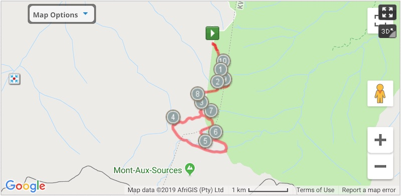 interactive map for amphitheatre hiking trail in drakensberg