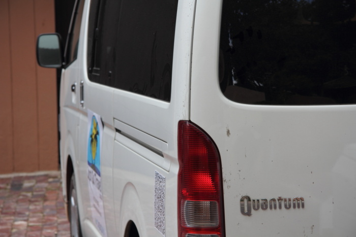 Toyota Quantum 10 seater vehicle ready to depart from South Africa