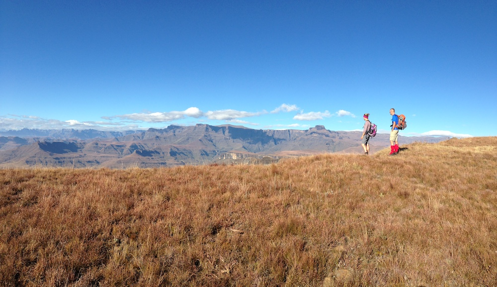 views from the amphitheatre hiking trail in drakensberg south africa