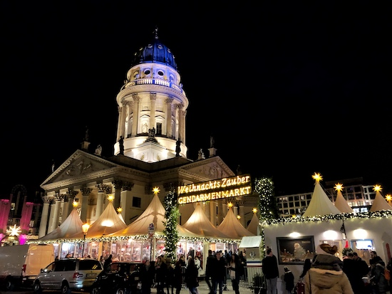gendarmenmarkt christmas market at night in berlin