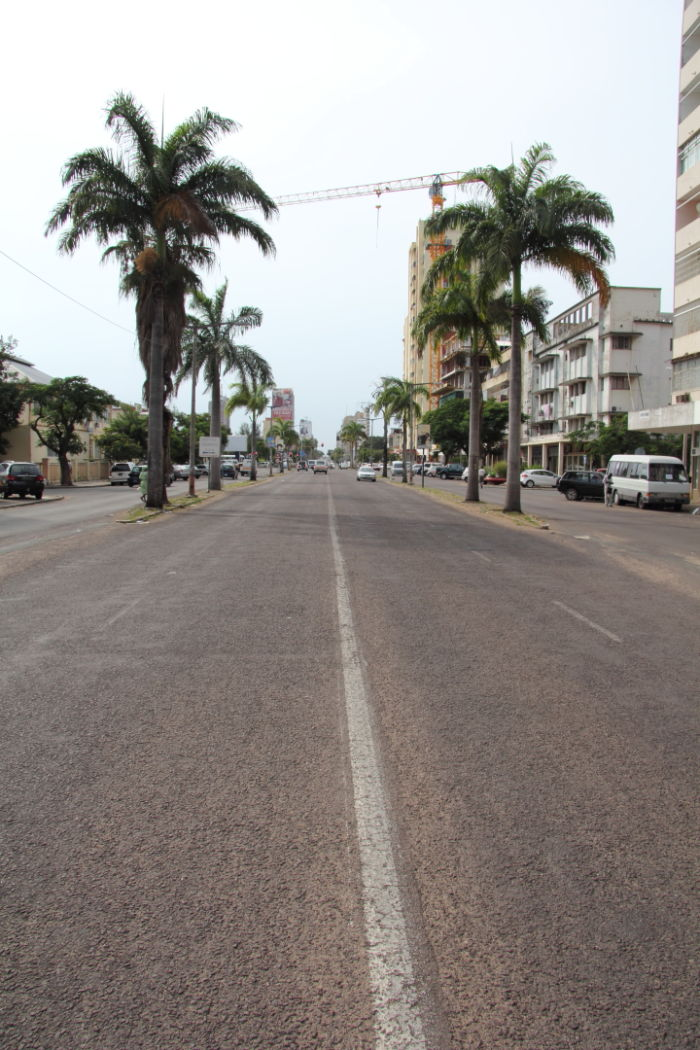 Driving along Avenida Eduarde Mondlane a main road in the centre of Maputo the capital city of Mozambique