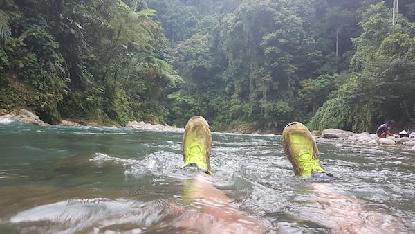 floating in the bohorok river in Sumatra Rain Forest in bukit lawang