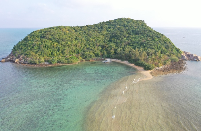 drone view of koh ma island in koh phangan