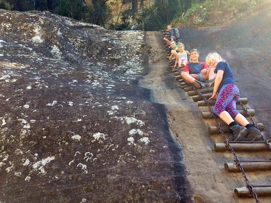 children hiking in the drakensberg
