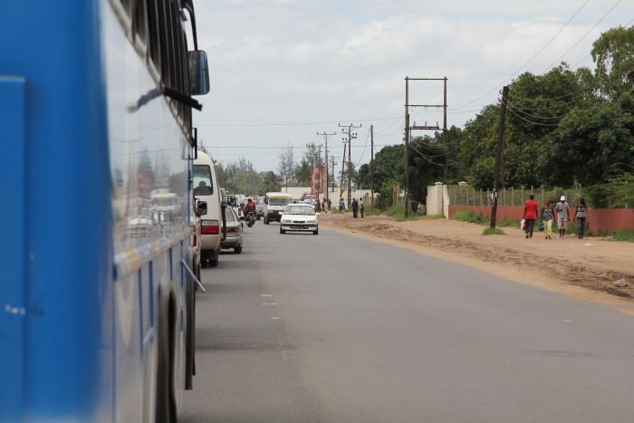 driving along the EN1 highway in Mozambique