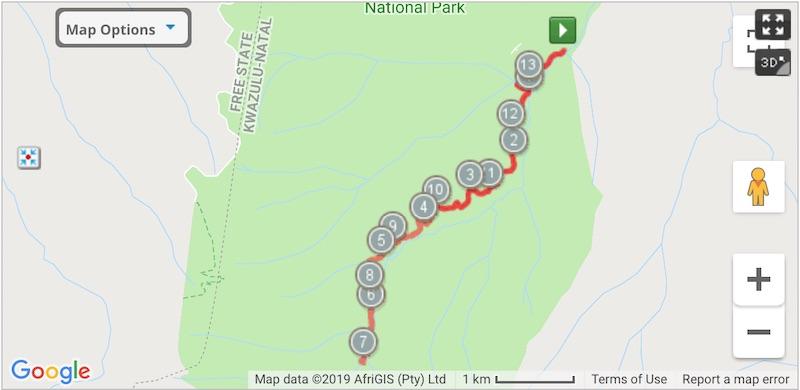 interactive hiking trail map of tugela fall hike