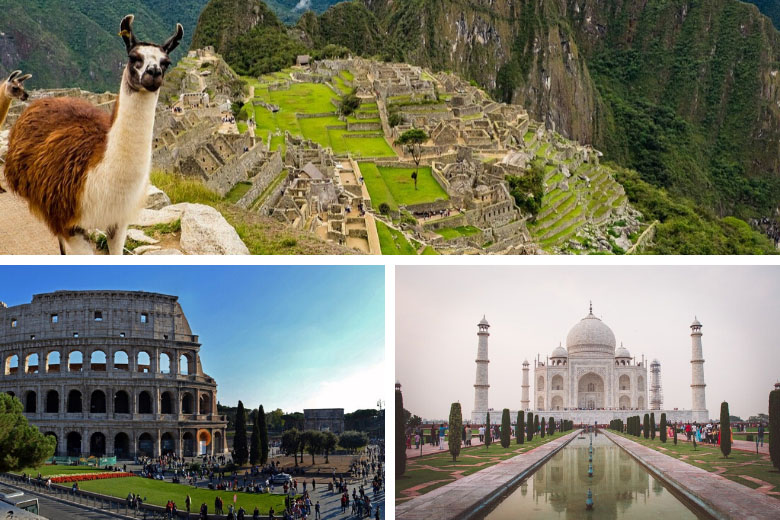 machu picchu, rome colosseum and taj mahal virtual travel experience