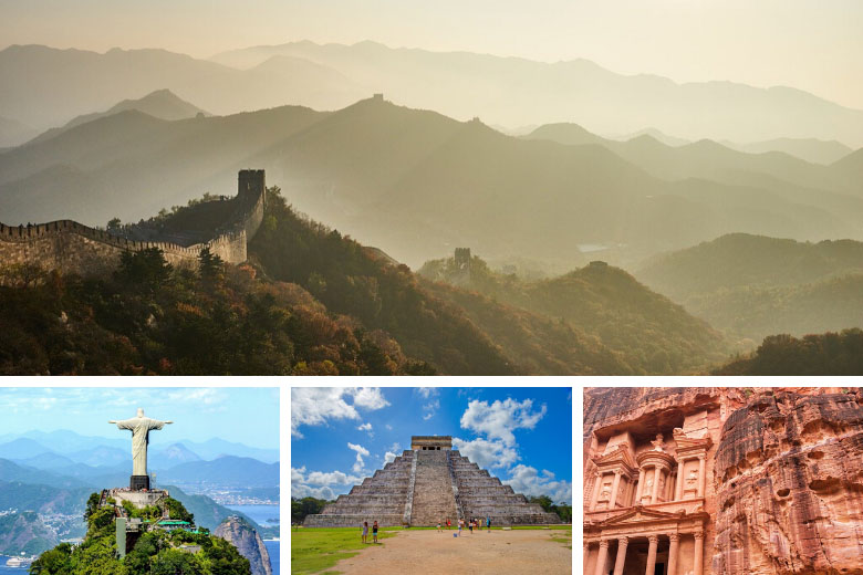 virtual tour the 7 wonders of the world including great wall of china, christ the redeemer, chichen itza and petra