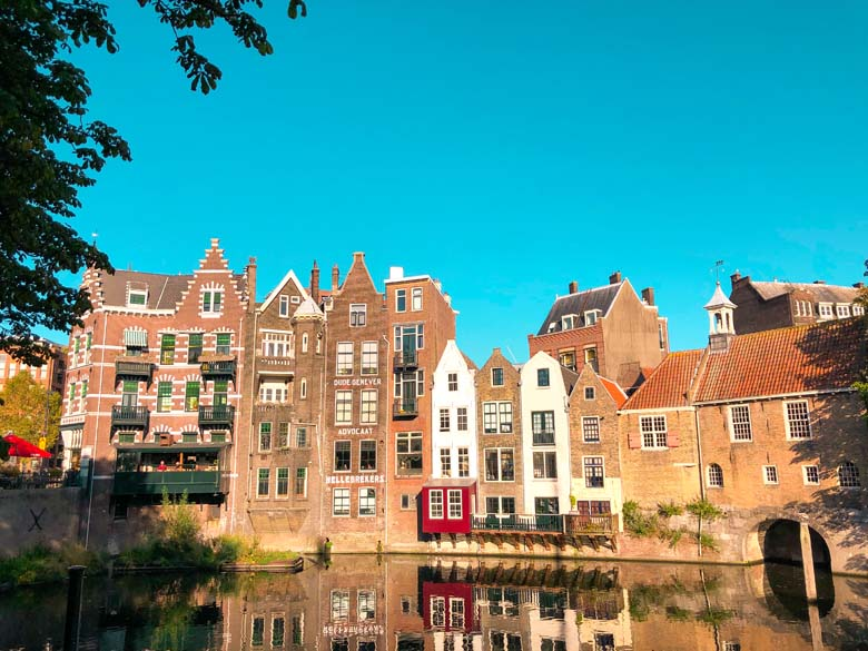 amsterdam in rotterdam, traditional dutch houses along the river