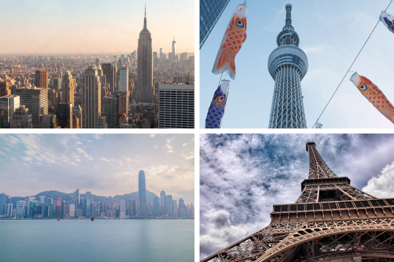 360 panoramic views over some of the best city skylines in the world like new york, tokyo, hong kong and paris