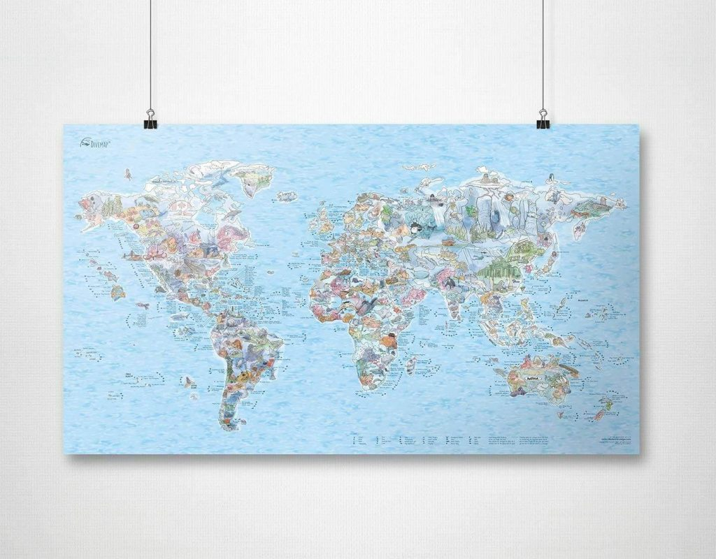 a dive map of the world is a cool diving gadgets and gifts to buy divers