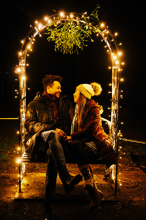 beautiful couple photography at the berlin christmas market in royal botanical garden in germany