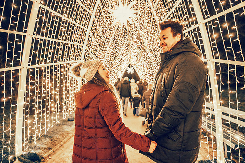 fairylights display at the berlin christmas garden with a couple looking at each other