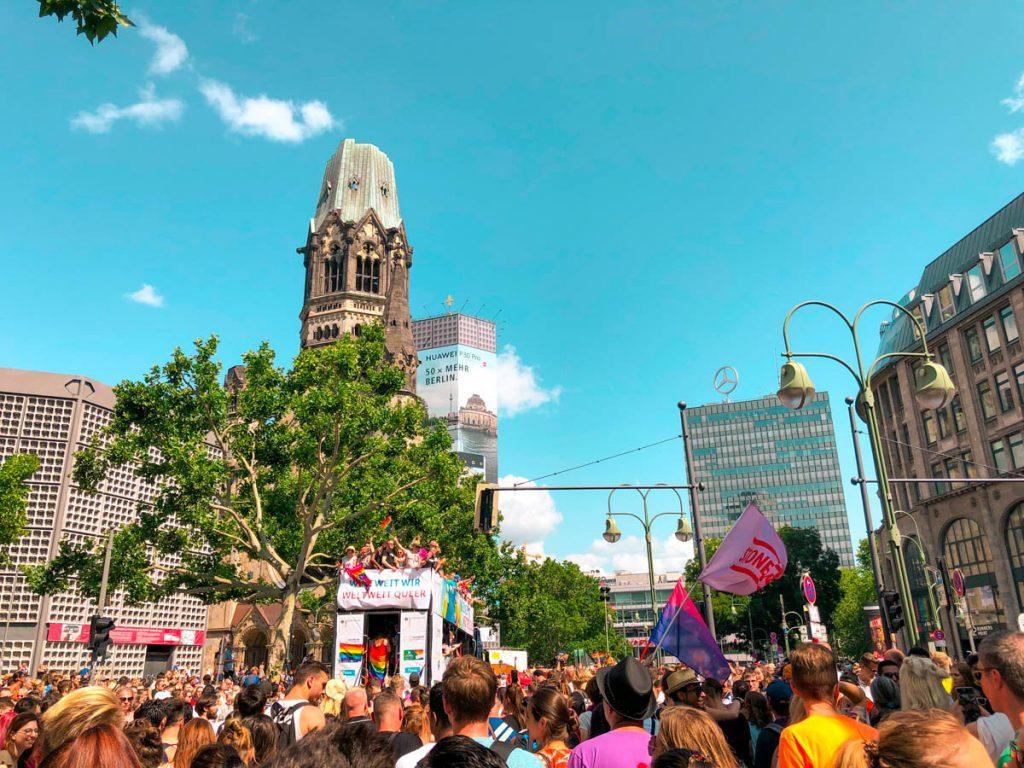 crowds of people attending christopher street day or berlin pride at kurfürstendamm