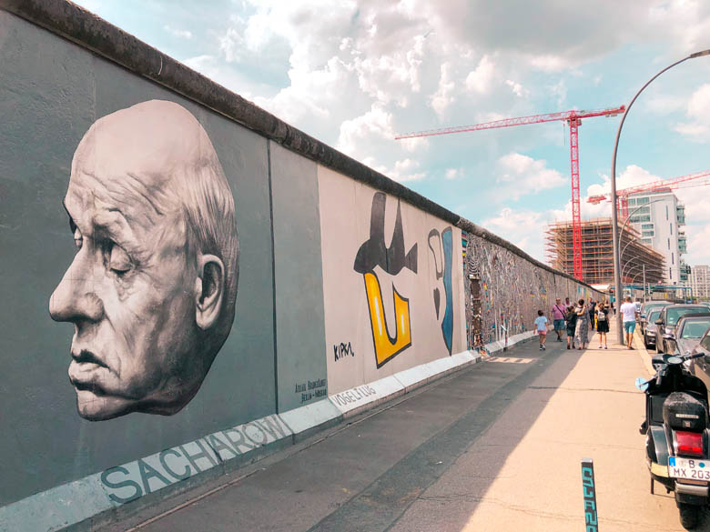 east side gallery with pope francis graffiti during coronavirus pandemic
