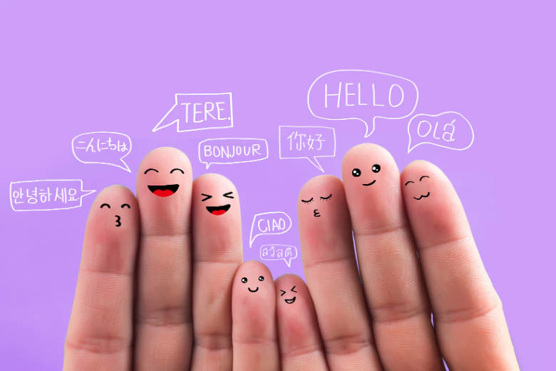 animated photo with fingers that have various faces and speech bubbles above them with the word hello said in different languages