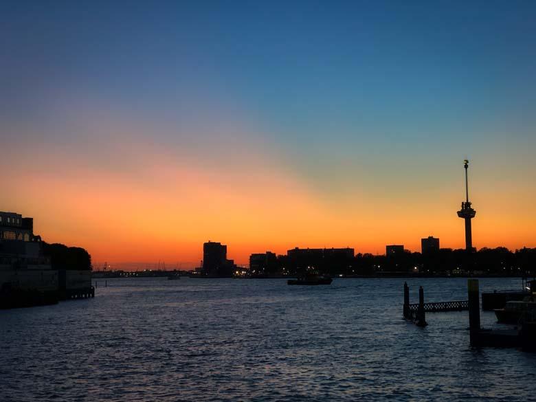 sunset photography from bridge in rotterdam