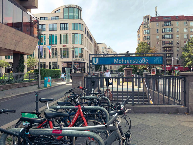 bicycle parking out a mohrenstrasse u-bahn train station in berlin germany