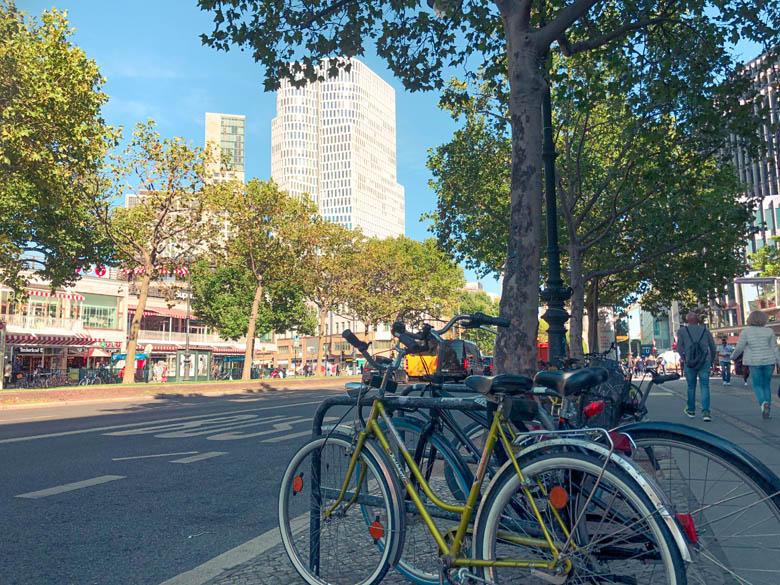 bicycles parked on the pavement in kurfurstendamm neighborhood berlin