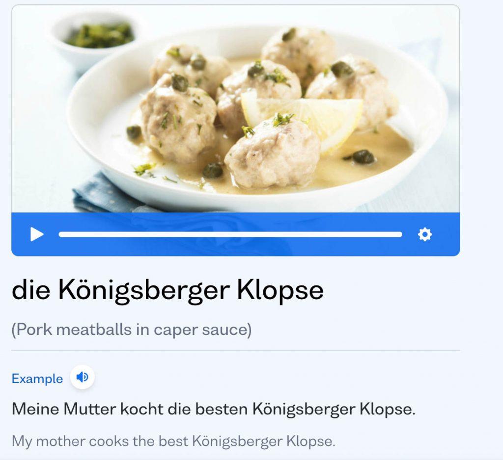 vocabulary flashcard of german word die konigsberge klopse and how it is used to speak german