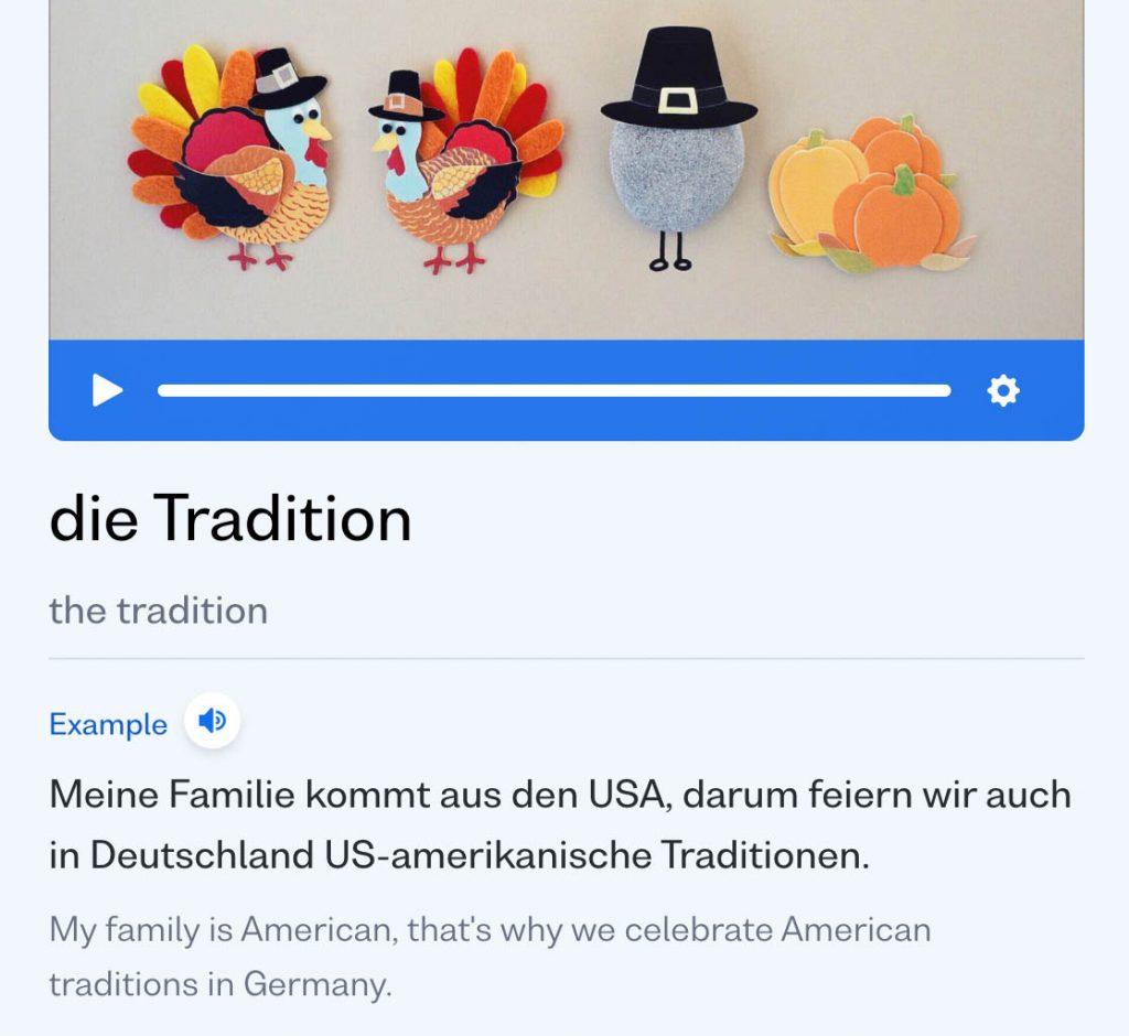 busuu language learning app showing how the german words die Tradition fits in a sentence