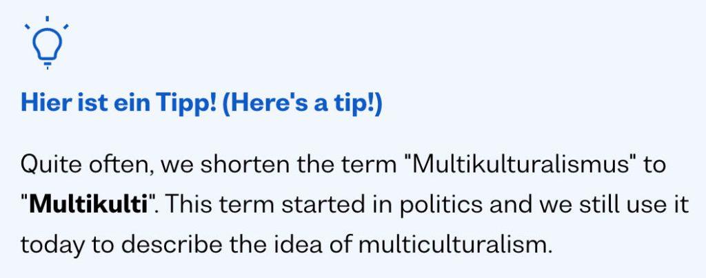 busuu app german explanation for the word multikulturalismus