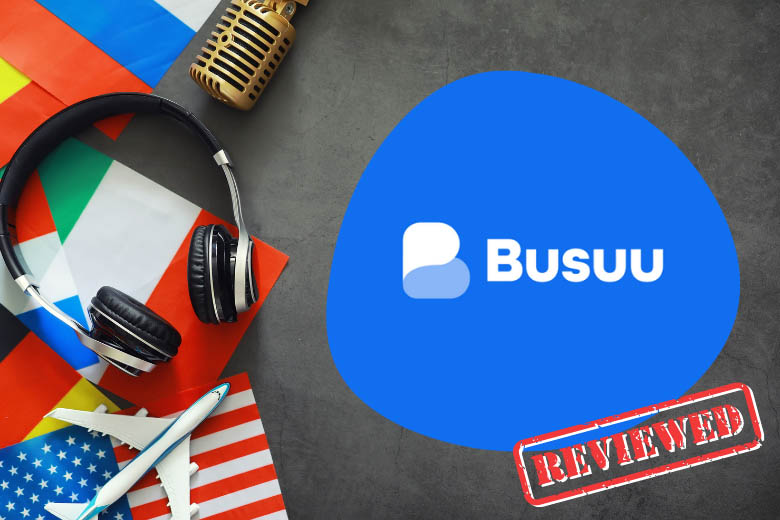 headphones and airplane lying on flags from different countries and a speech bubble with the busuu language learning app on