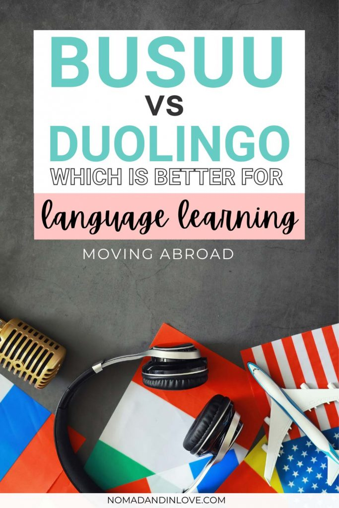 pinterest save image for a language learning app comparison review for busuu vs duolingo
