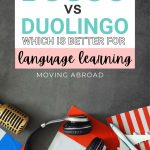 pinterest image with headphones lying on various flags and a text overlay that says busuu vs duolingo, which is better for language learning
