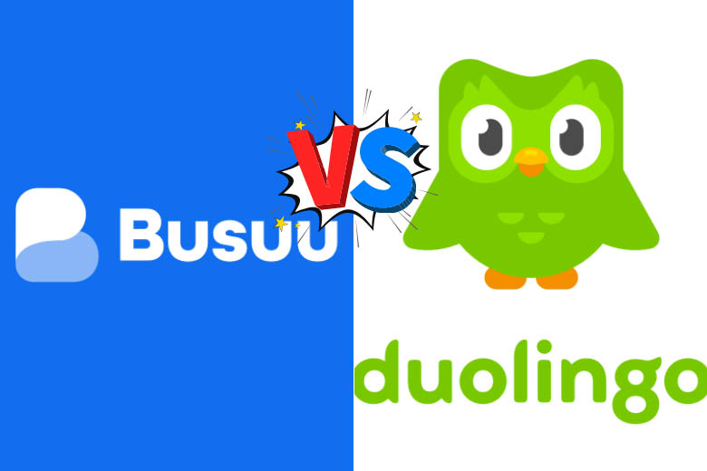 busuu blue logo on the left and duolingo in green on the right with the words vs in the middle