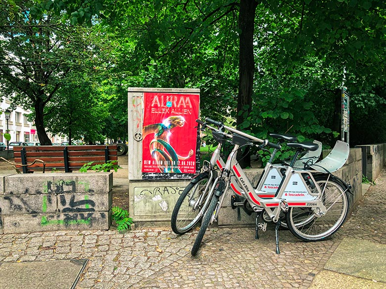 two call a bike bike sharing bicycles standing side by side in berlin mitte