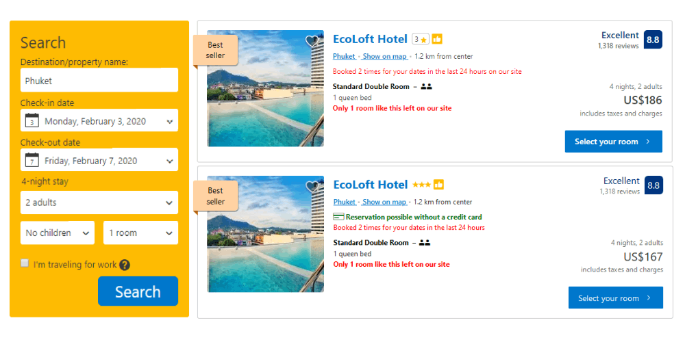comparison of cheap travel deals on Booking.com