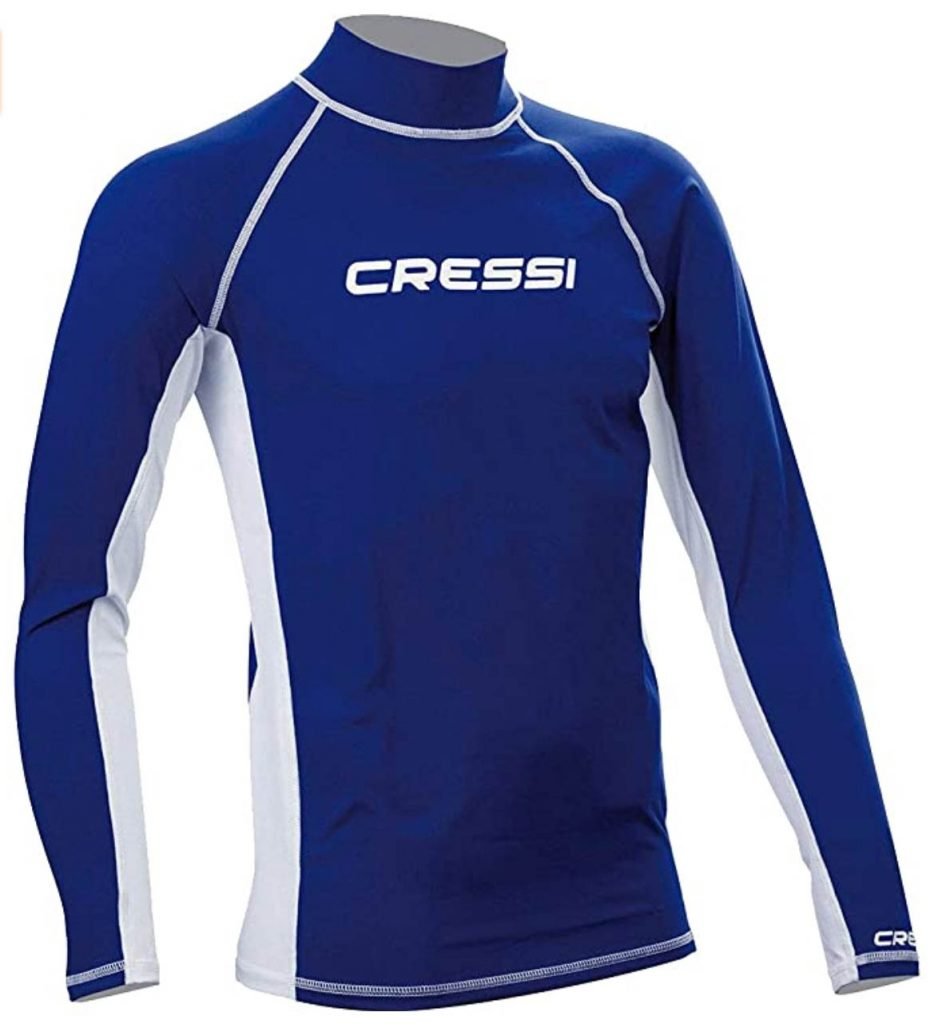 blue and white cressi rash guard for men in long sleeves are great scuba accessories