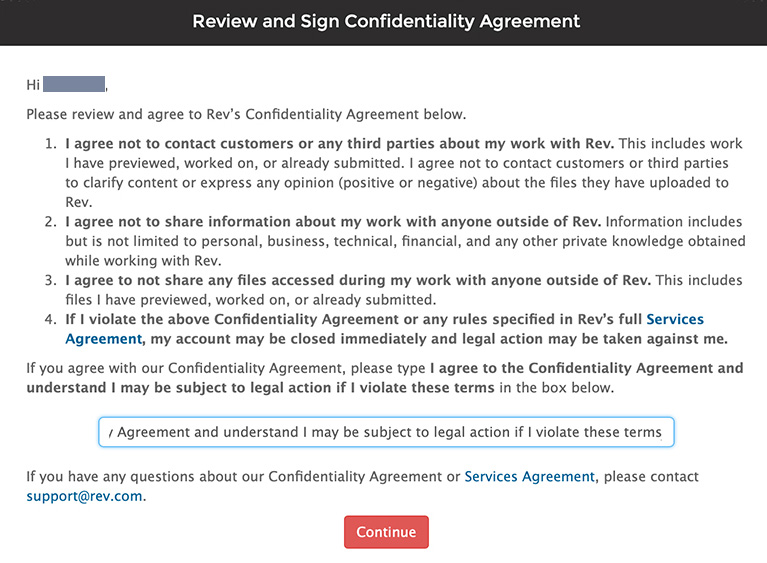 confidentiality agreement to work for rev.com