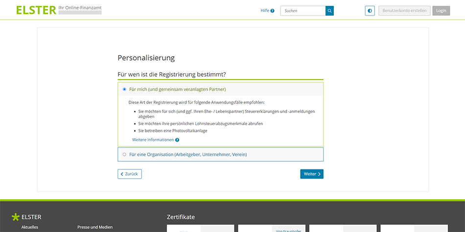 choose between a personal or organization account type on ELSTER