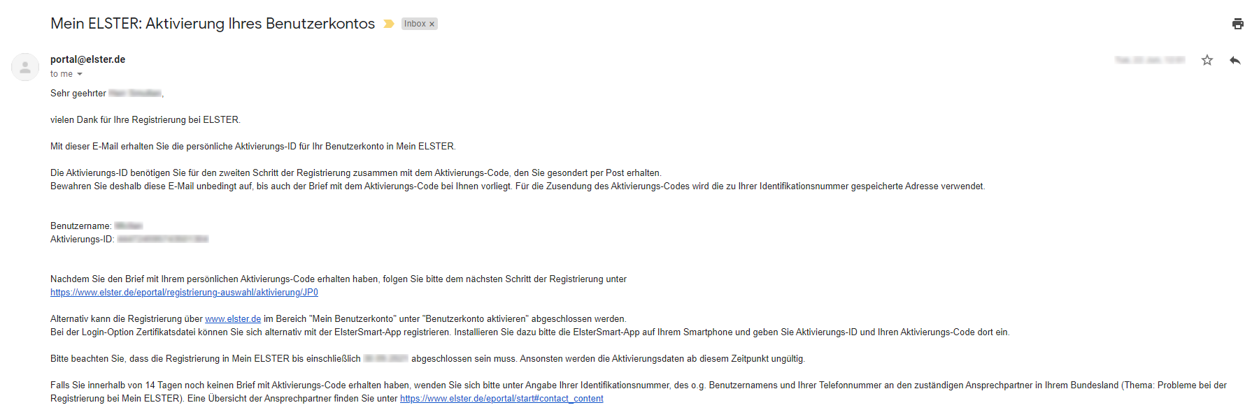 email with your ELSTER Activation ID (Aktivierungs-ID) and Username (Benutzername)