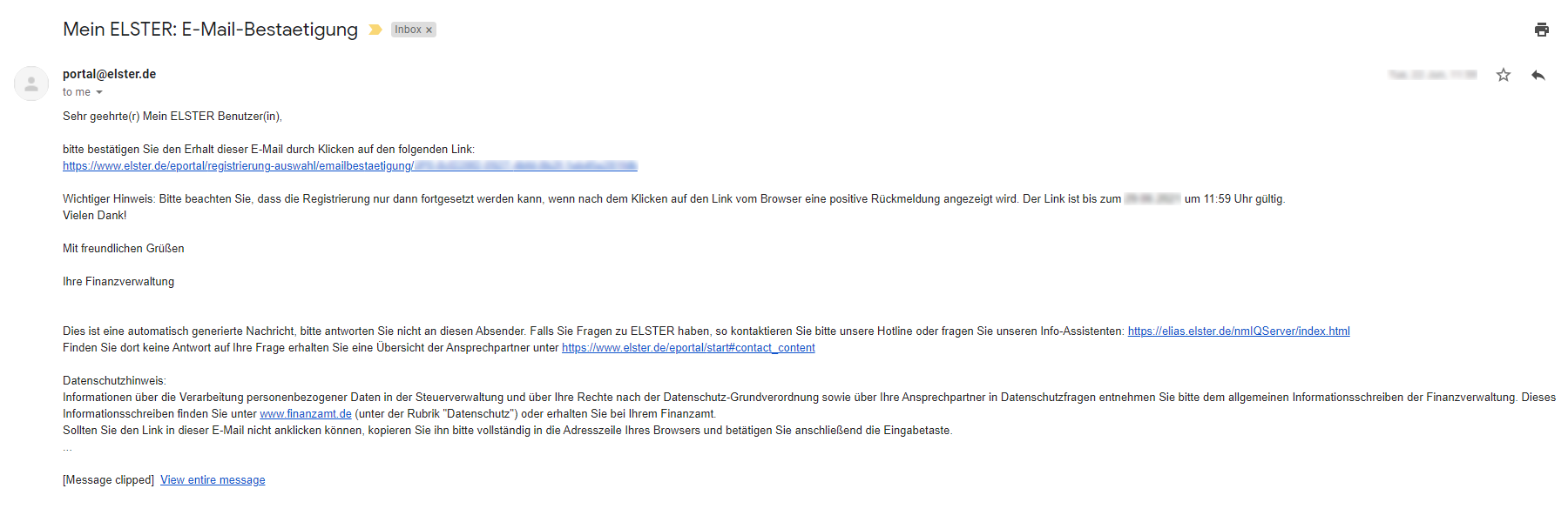 email from ELSTER requesting you to confirm your email address