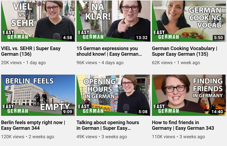 learning german for free on youtube channel easy german