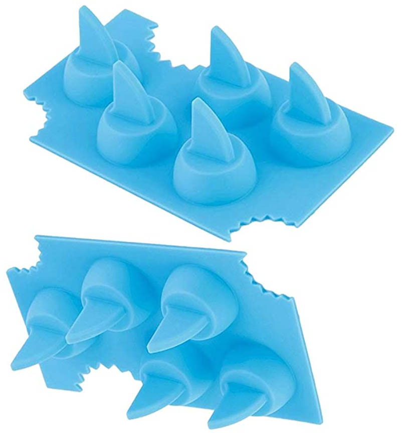 blue silicone shark fin ice cube trays are great christmas stocking stuffer gifts