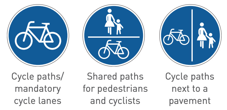 three blue round bicycle road signs in germany and the traffic rules and regulation explanation