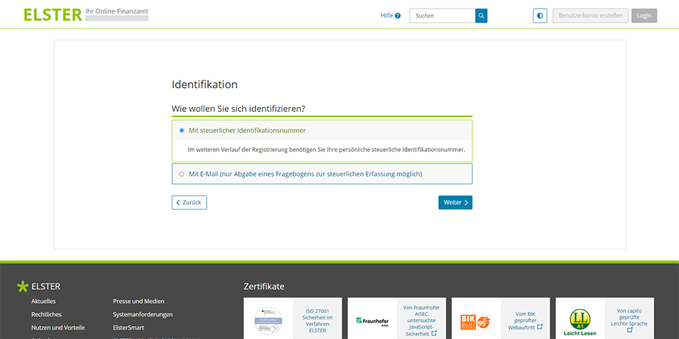 use your German tax steuer identifikationsnummer (SteuerID) to identify yourself on ELSTER
