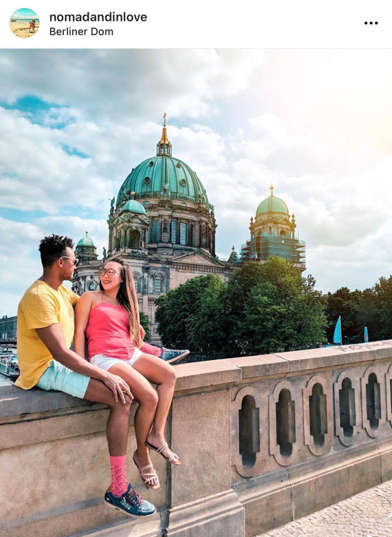 a secret photo location for couples to take photos in front of berliner dom or berlin cathedral in germany
