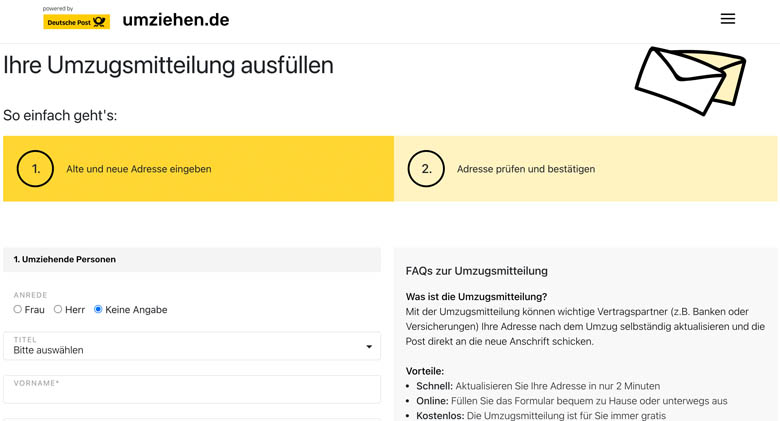 directions for setting up mail forwarding service in germany and redirect your mail