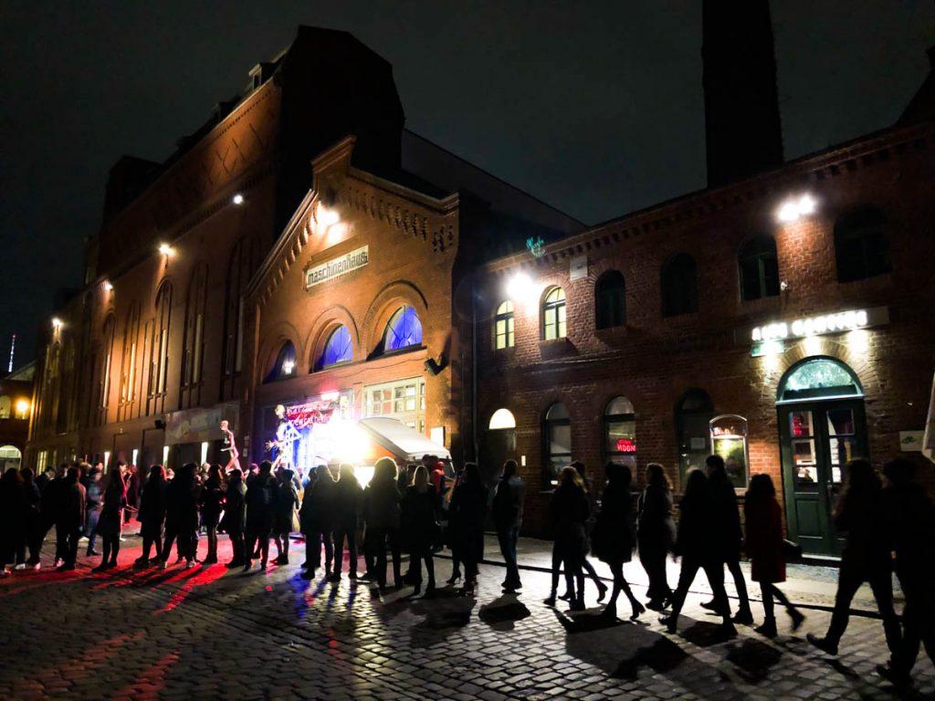 people standing in a long queue in kulturbrauerei prenzlauer berg district berlin before corona times