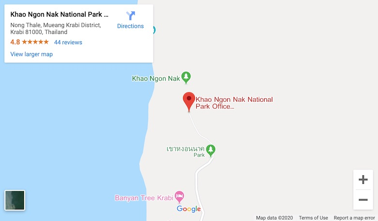 google map link to find khao ngon nak hiking trail in krabi for best viewpoint