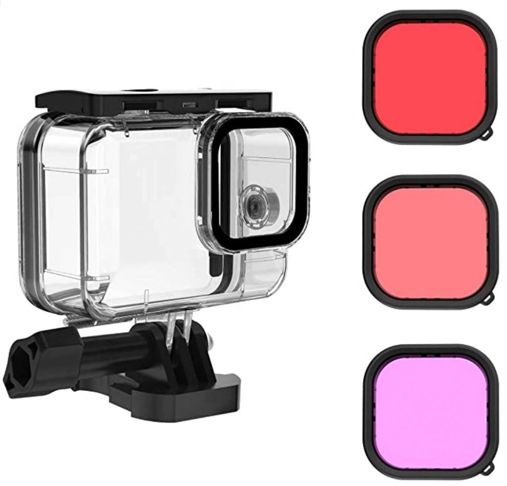 waterproof casing for gopro action camera with red colour correcting lens