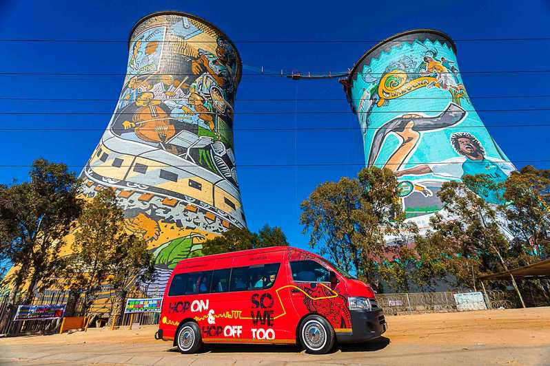guided tour bus in front of soweto tours in johannesburg south africa
