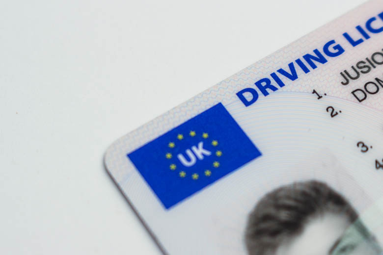 a close-up of a UK driving license