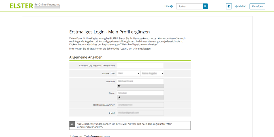 add and save your German income tax number on your ELSTER account